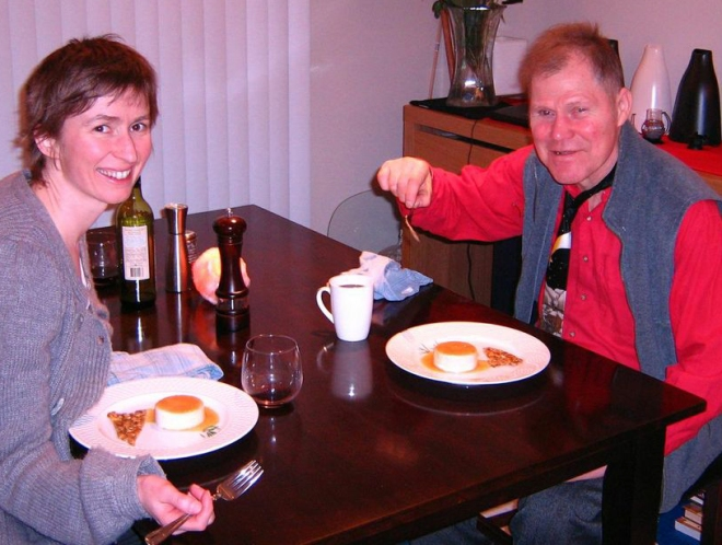 Nicole and David. Sharing a meal on Hecate Street.
